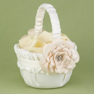 Love Blooms Ivory Flower Girl Basket image