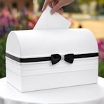 Refined Romance Black and White Wedding Card Box
