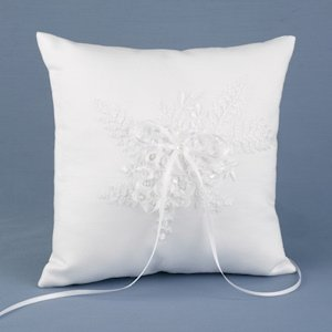Sweetly Smitten White Ring Pillow for Weddings image