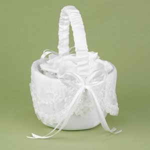 Sweetly Smitten White Flower Basket for Weddings image