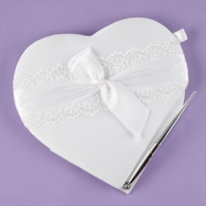 Lace Allure Heart Guest Book/ Pen Set image