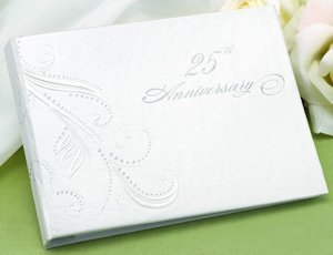 Swirl Dots 25th Wedding Anniversary Guest Book image