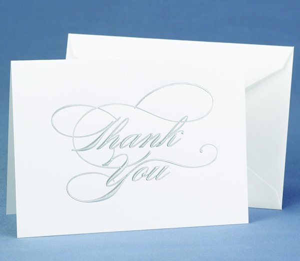 Wedding Gift Thank You Cards: Silver Script Wedding Gift Thank You Cards (Set Of 50
