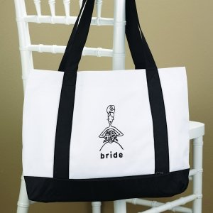 White & Black Wedding Party Tote Bags image