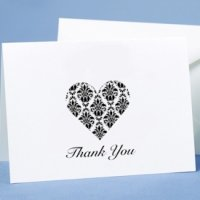 Black & White Damask Heart Thank You Cards