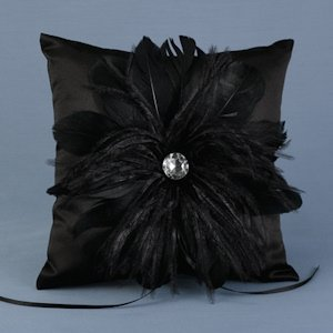 Black Feathered Flair Ring Pillow image