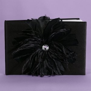 Black Feathered Flair Guest Book image