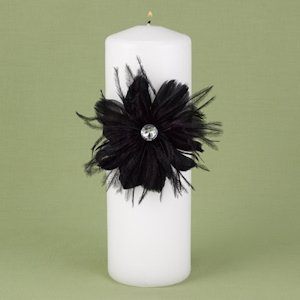 Black Feathered Flair Unity Candle image