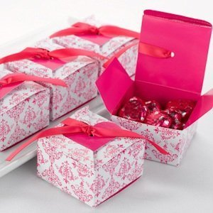 Fuchsia Hot Pink Heart Flap Favor Boxes ( Set of 25) image