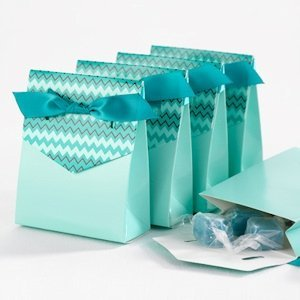 Teal Chevron Tent Favor Boxes (Set of 25) image