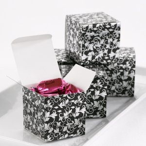 Black and Silver Foil Patterned Boxes (Set of 25) image