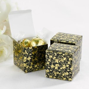 Foil Patterned Black and Gold Favor Boxes (Set of 25) image