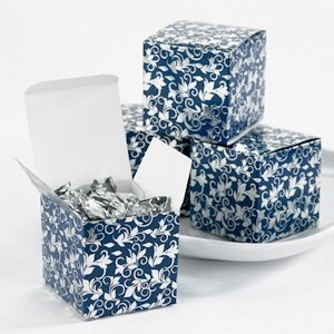 Navy and Silver Foil Patterned Boxes (Set of 25) image