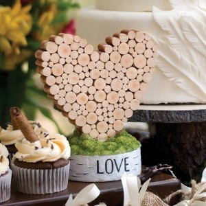 Birch Bark Wood Heart Rustic Wedding Cake Topper image