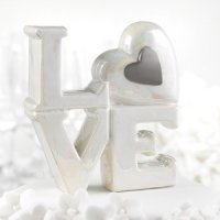Porcelain Love Cake Topper (Silver or Gold)