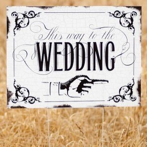 Vintage 'This way to the Wedding' Yard Sign image