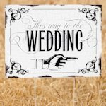 Vintage 'This way to the Wedding' Yard Sign