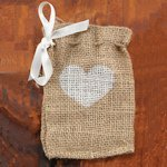 Heart Burlap Favor Bags (Set of 25)