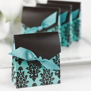 Turquoise & Brown Tall Favor Boxes (Set of 25) image