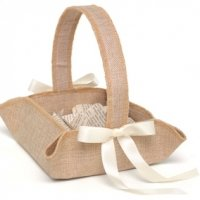 Rustic Country Burlap Flower Girl Basket