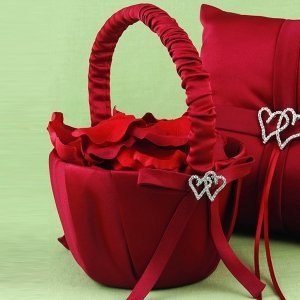 Claret Red 'With All My Heart' Flower Girl Basket image