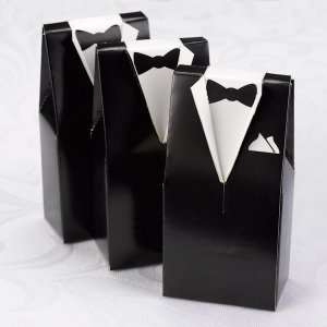 Black Tux Wedding Favor Boxes (Set of 25) image