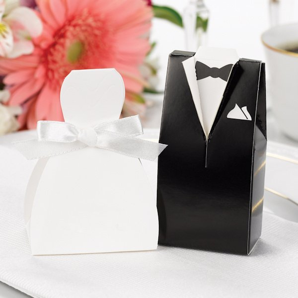 Wedding Favor Boxes White : White wedding dress favor boxes set of