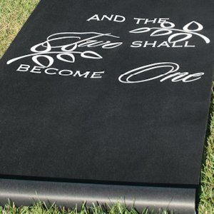 Two Become One Black Wedding Aisle Runner image