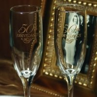 50th Wedding Anniversary Champagne Toasting Flutes