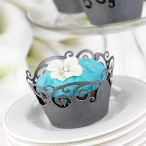Black Shimmer Cupcake Wraps (Set of 25) image