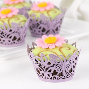 Lavender Butterfly Cupcake Wraps (Set of 25) image