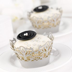 Silver Damask Cupcake Wrappers for Weddings (Set of 25) image