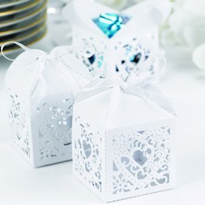 Square Filigree Favor Boxes (2 Colors - Set of 25) image