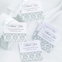 Damask Black and Silver 'Thank You' Favor Cards