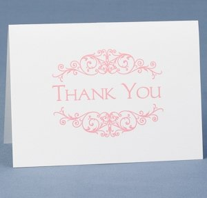 Pink Flourish Frame Thank You Cards (Set of 50) image