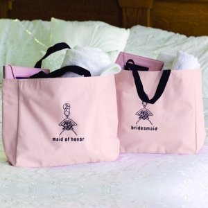 Pink and Black Bridal Party Tote Bags image