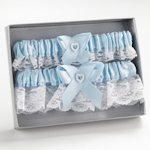 Blue Delicate Heart Garter Set