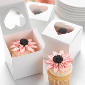 Wedding Cupcake Favor Boxes - Heart Windows (Set of 24) image