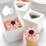 Wedding Cupcake Favor Boxes - Heart Windows (Set of 24)