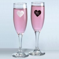 Mr & Mrs Champagne Flutes with Heart Imprint