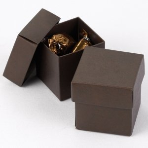 Mix and Match Two Piece Mocha Brown Favor Boxes (Set of 25) image