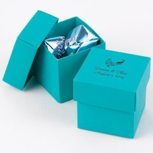 Mix and Match Personalized Palm Blue Favor Boxes (Set of 25) image