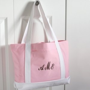 Personalized Pink & White Canvas Tote image