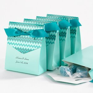 Teal Chevron Personalized Tent Favor Boxes (Set of 25) image