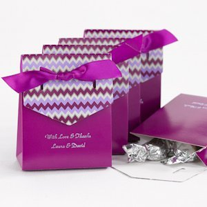 Purple Chevron Personalized Tent Favor Boxes (Set of 25) image