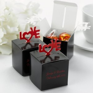 Black LOVE Personalized Wedding Favor Boxes (Set of 25) image