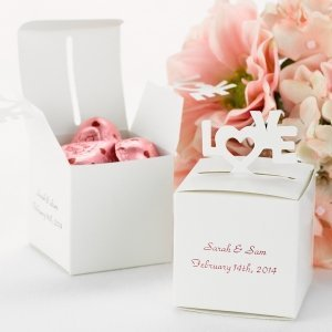 White Pop-Up Love Personalized Favor Boxes (Set of 25) image