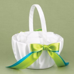 Two Color Custom Flower Girl Basket image