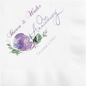Watercolor Flower Personalized Anniversary Napkins image
