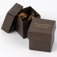 Mix and Match Personalized Mocha Brown Favor Box (Set of 25)